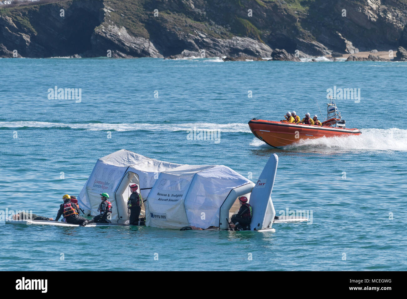 The Newquay RNLI B Class Atlantic 85 inshore craft participating in a GMICE (Good Medicine in Challenging Environments) major exercise in Newquay. - Stock Image