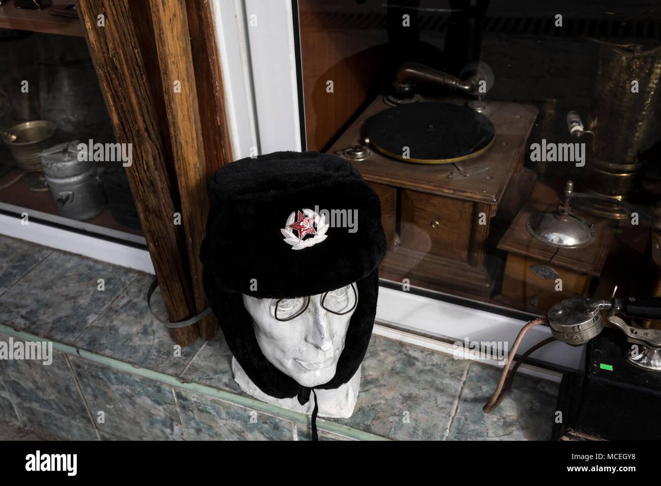 93dfd711694 Soviet caps and hats memorabilia at Berlin Market. KN019M (RM). Souvenir  store