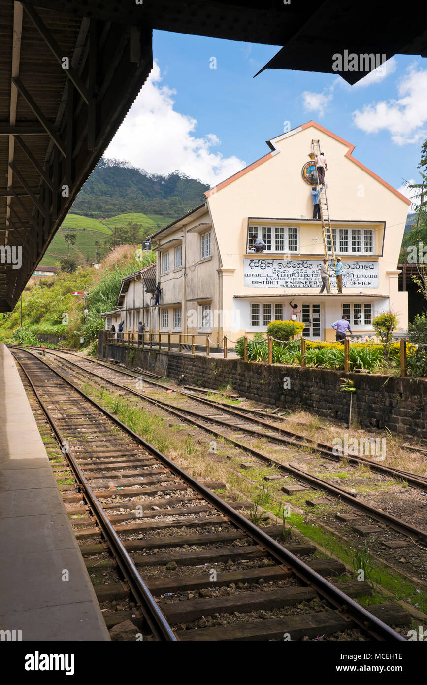 Vertical view of Nanu-oya Train Station in the highlands of Sri Lanka. - Stock Image