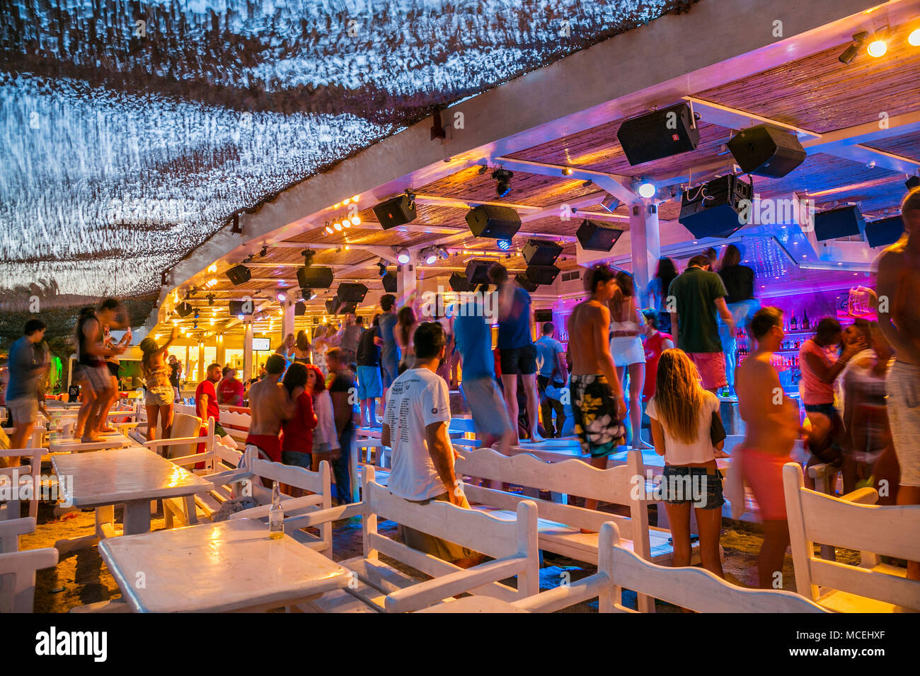 Best Island Beaches For Partying Mykonos St Barts: Mykonos Beach Party Stock Photos & Mykonos Beach Party