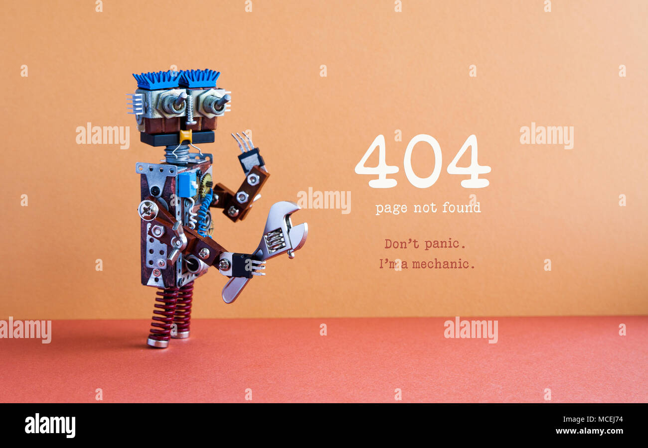 404 error page not found concept. Don't panic I'm a mechanic. Hand wrench adjustable spanner robot handyman, futuristic robotic toy. Brown wall, red floor background. - Stock Image