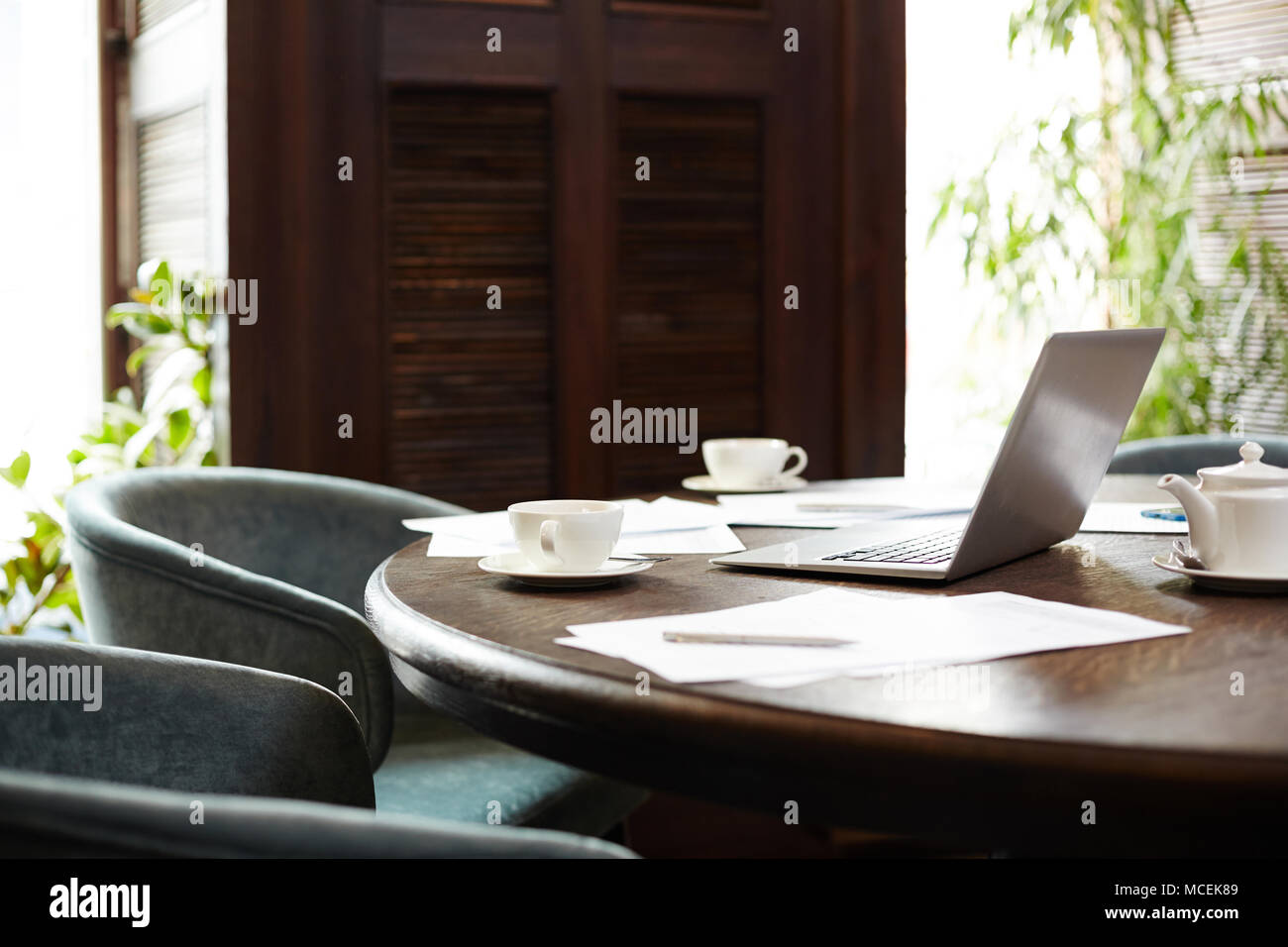 Round Wooden Conference Table Stock Photos Round Wooden Conference - Round wood conference table