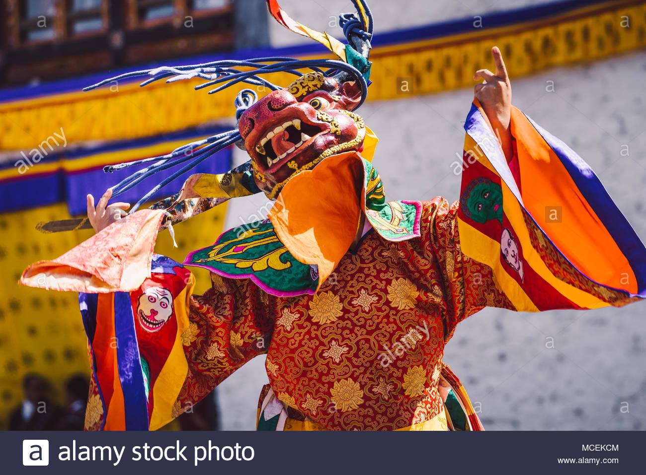 Dance of the Terrifying Deities, Gasa Festival, Bhutan. Traditional mask dance during the Paro Tshechu. - Stock Image