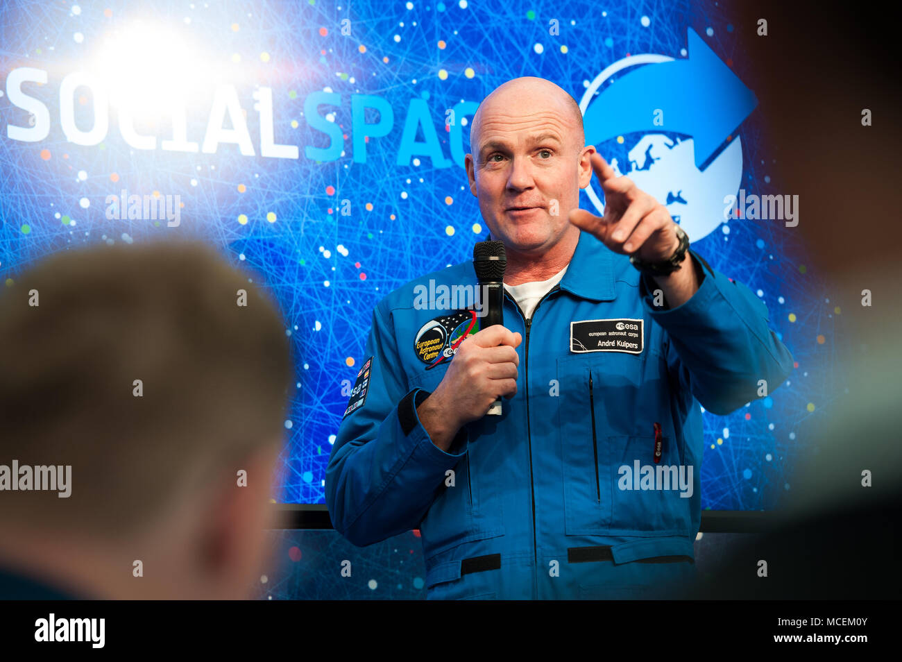 Dutch ESA Astronaut André Kuipers talking at an Event in Cologne - Stock Image