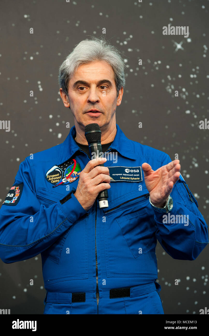 French ESA Astronaut Léopold Eyharts talking at an Event in Cologne - Stock Image