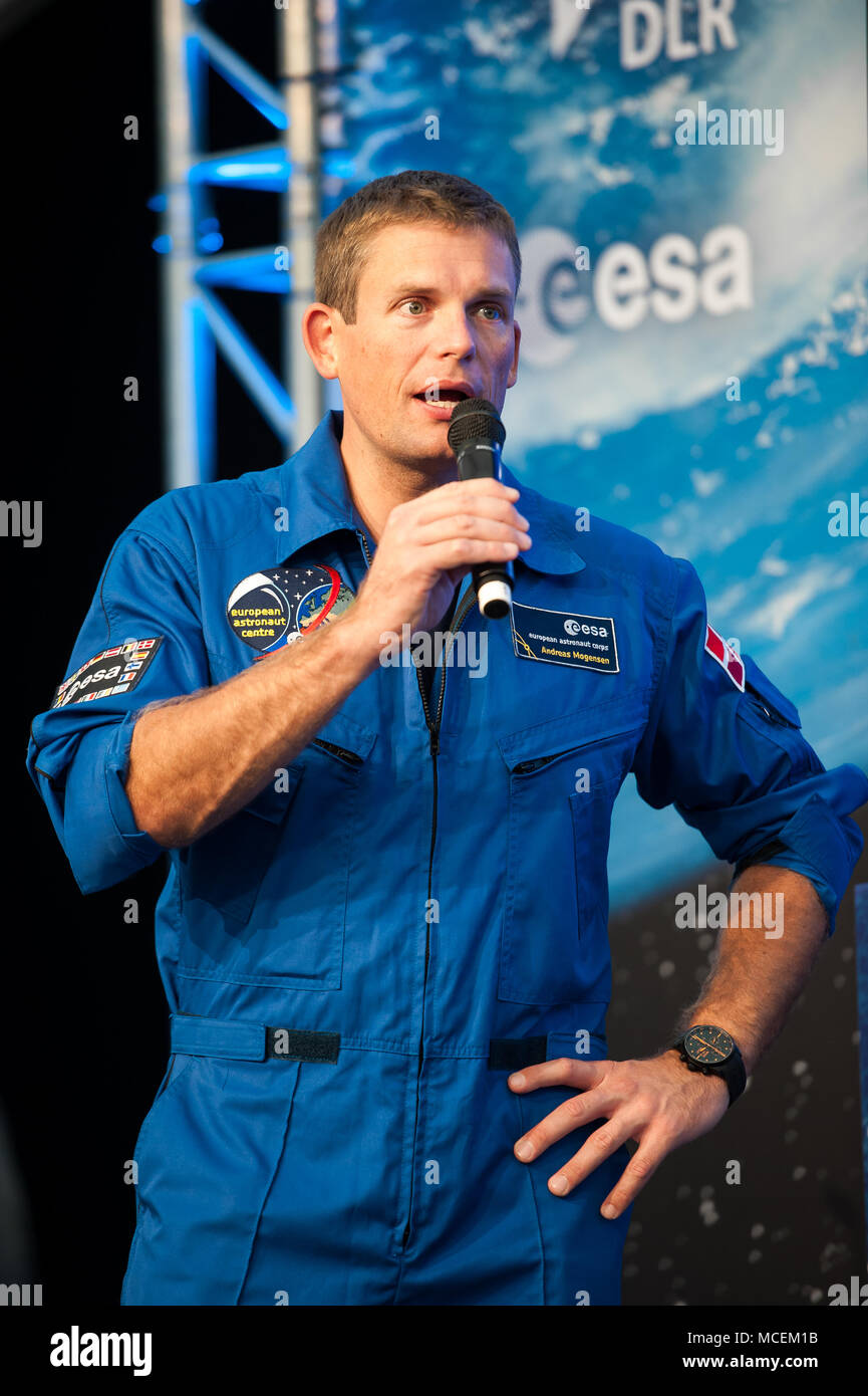 Danish ESA Astronaut Andreas Mogensen talking at an Event in Cologne - Stock Image