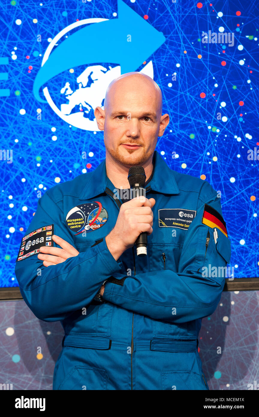 German ESA Astronaut Alexander Gerst talking at an Event in Cologne - Stock Image