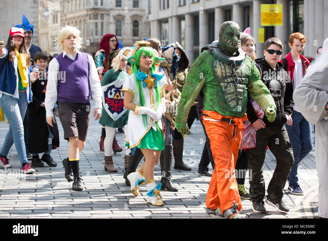 London Games Festival, Video Game Cosplay Character Parade through London. The annual parade features hundreds of video game-inspired characters, UK - Stock Image