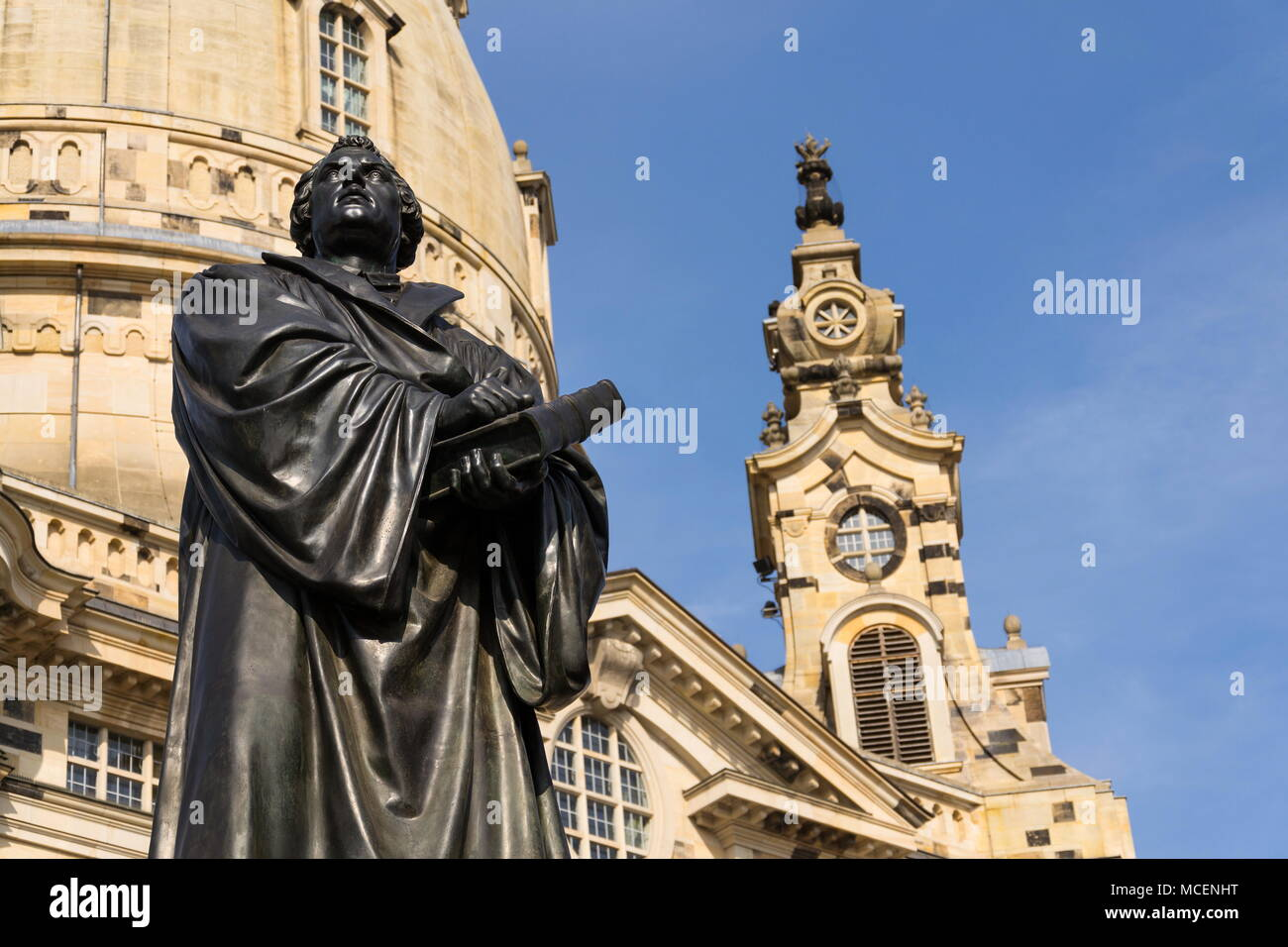 Statue of Martin Luther in front of Frauenkirche, Dresden, Germany Stock Photo