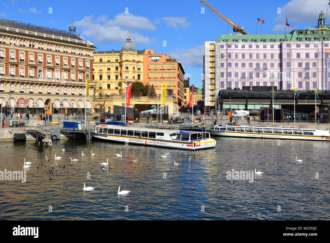 Harbor with tourist cruise ships - Stock Image