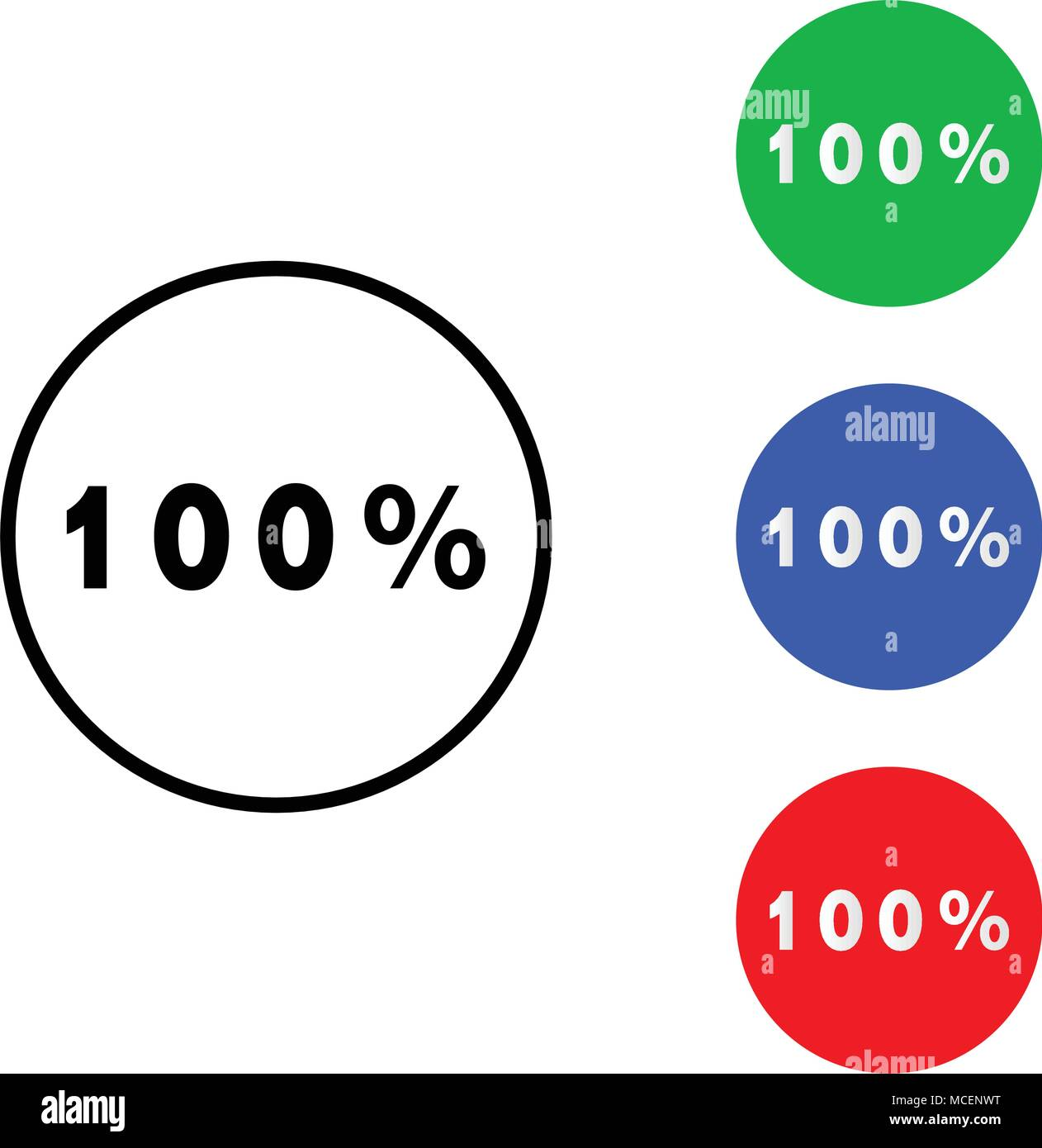 One hundred percent icon. vector illustration. flat and outline style - Stock Vector