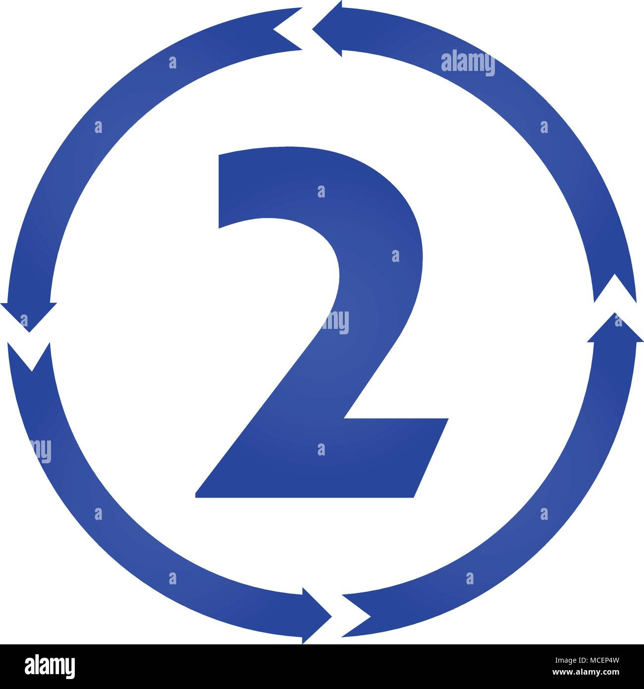Number 2 sign turn icon. vector illustration. flat style - Stock Image