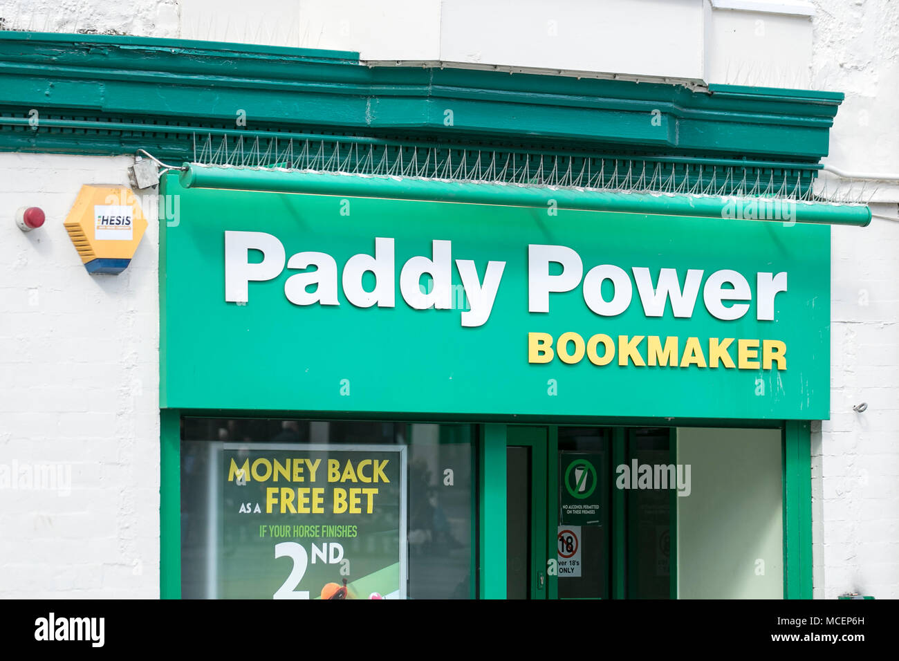 Paddy Power bookmaker bookmakers bookies betting shop - Stock Image