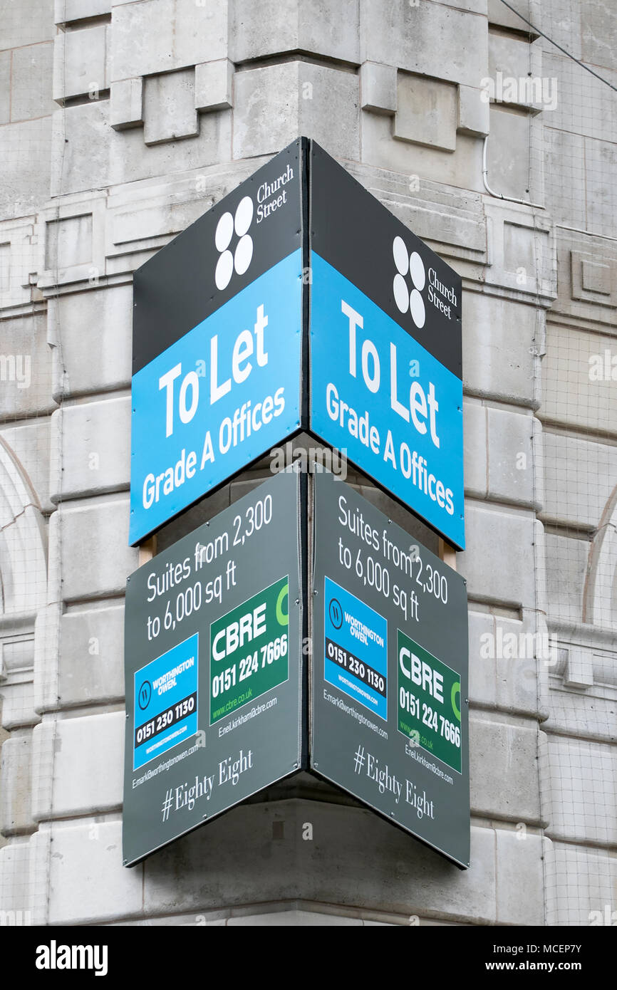 To Let sign on disused office buildings in Liverpool city centre - Stock Image