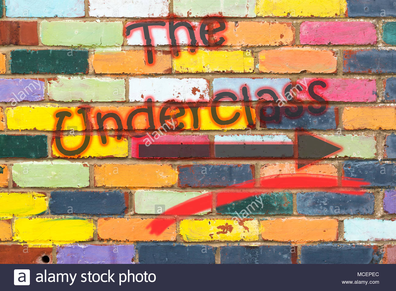 Looking at a very colourful brickwall with the wording The Underclass with arrow. Dorset, England - Stock Image