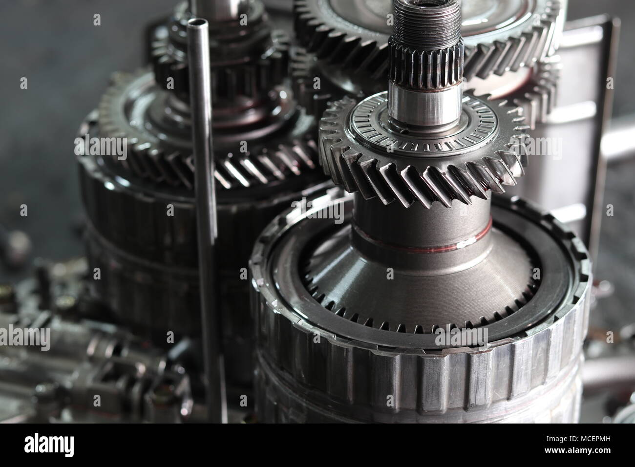 The Gear Parts From Car Transmission Dis Assembly Stock Photo