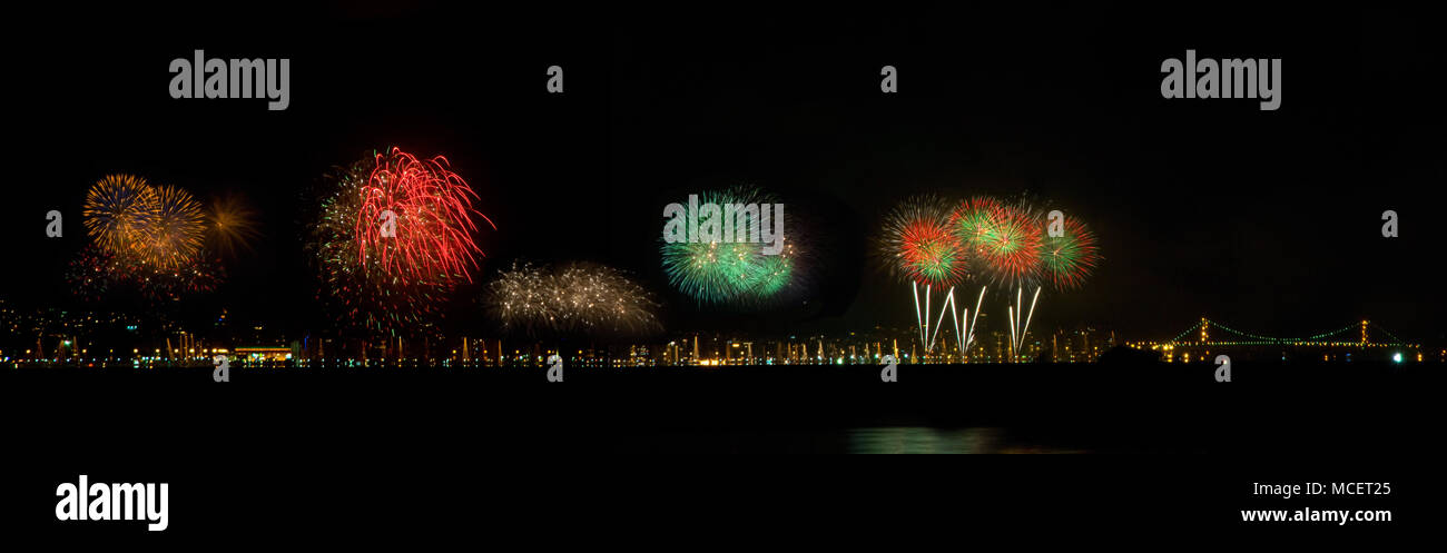 New Year's Day Fireworks in Florianopolis Brazil - Stock Image