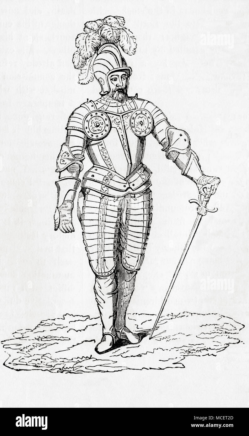 A suit of Demi-Lancer's armour from the time of Henry VII.  The Demi-lancer or demilancer was a heavy cavalryman found in Western Europe in the 16th and early 17th centuries.  From Old England: A Pictorial Museum, published 1847. - Stock Image