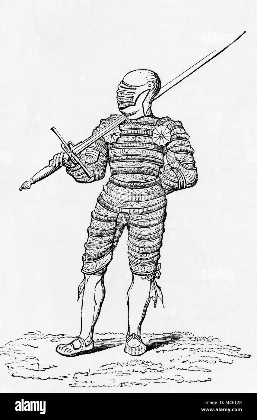 A suit of puffed and engraved armour from the 16th century.  From Old England: A Pictorial Museum, published 1847. - Stock Image