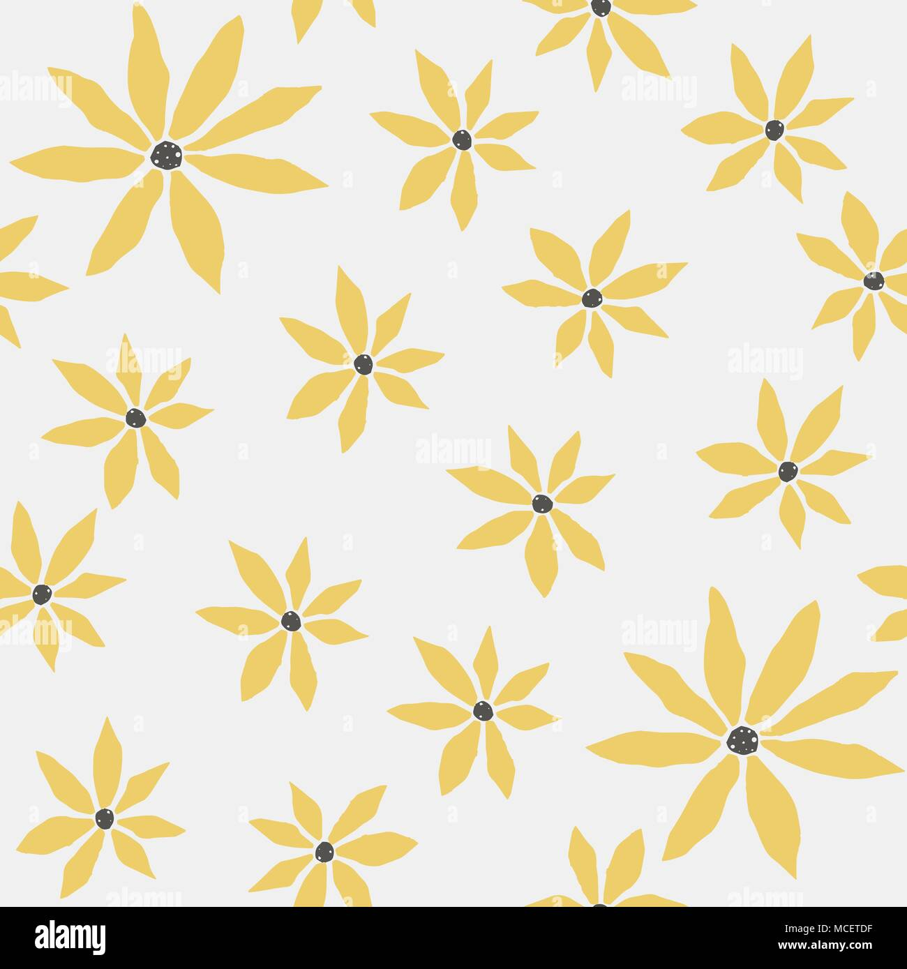 Seamless Floral Pattern With Yellow Flowers On Subtle Background