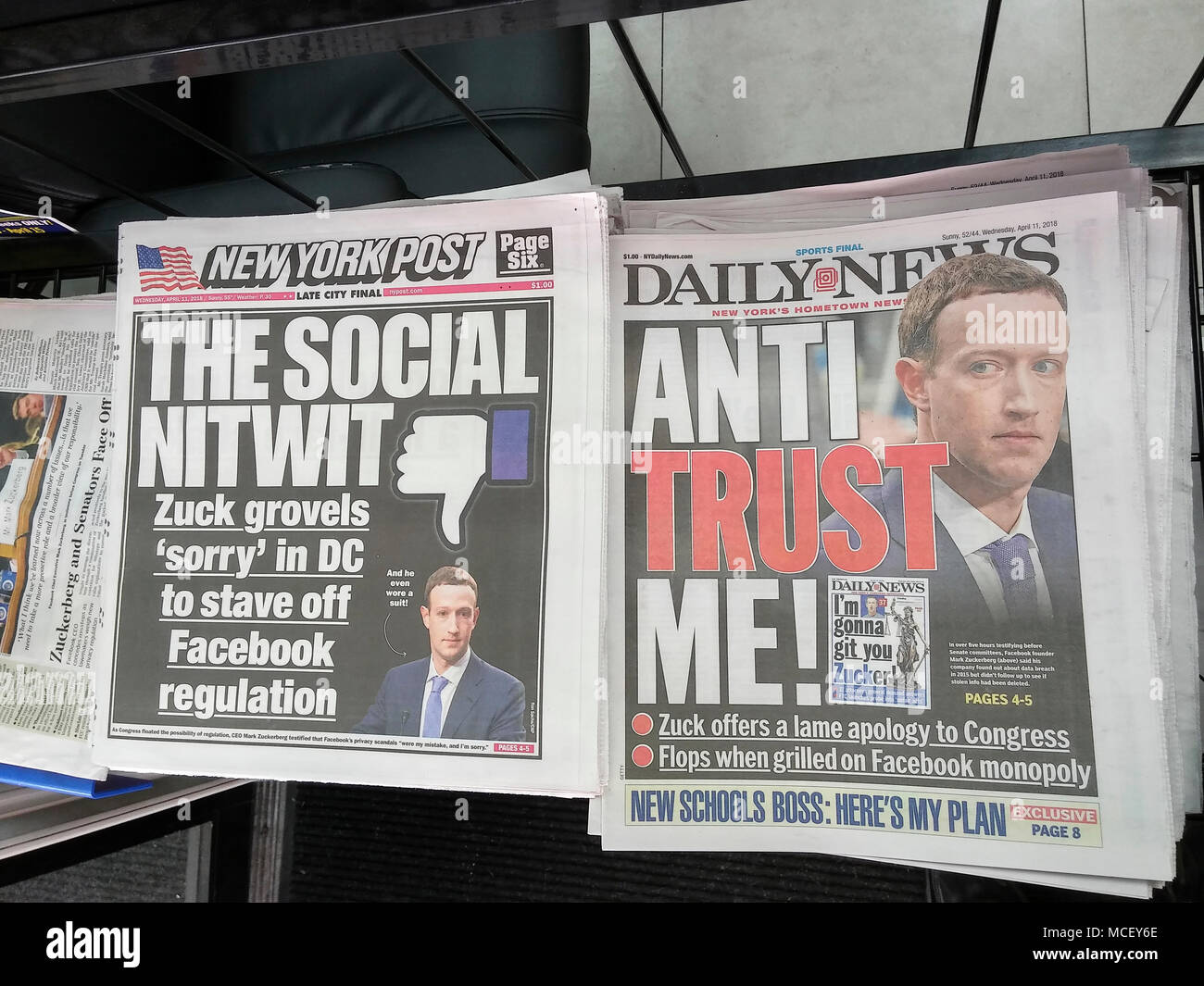 Front pages of New York tabloid newspapers on Wednesday April 11, 208 report on the previous days' testimony of Facebook founder Mark Zuckerberg before a Senate committee related to the Cambridge Analytica data scandal and the Russian interference in the 2016 election . (© Richard B. Levine) - Stock Image