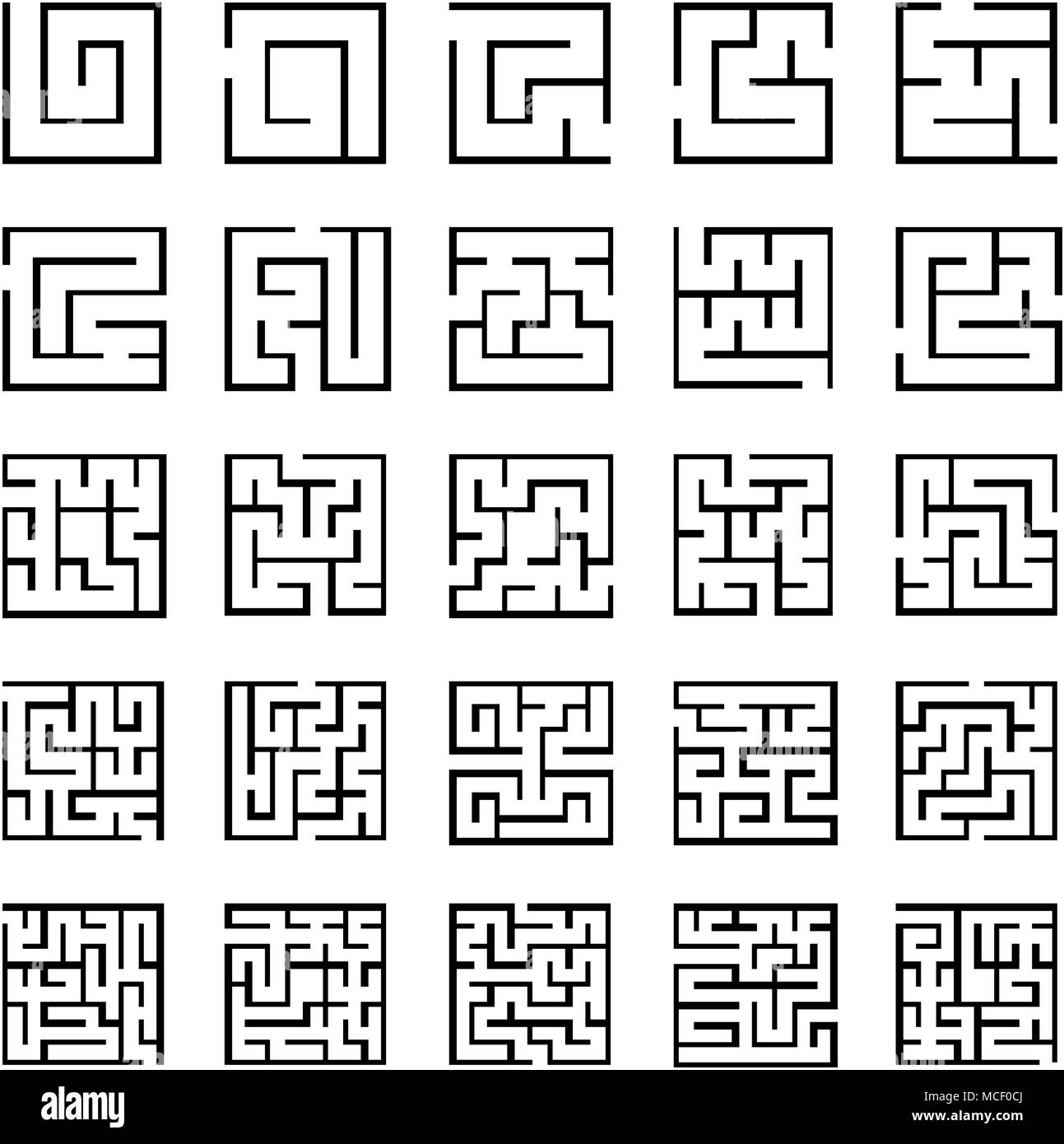 Set of outlined maze icons with different difficulty Stock Vector