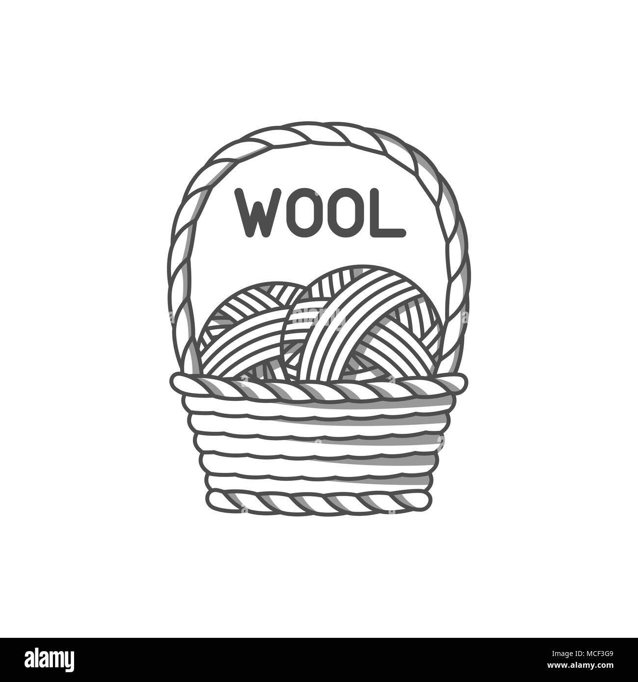 Wool emblem with merino sheep. Label for hand made, knitting or tailor shop - Stock Vector