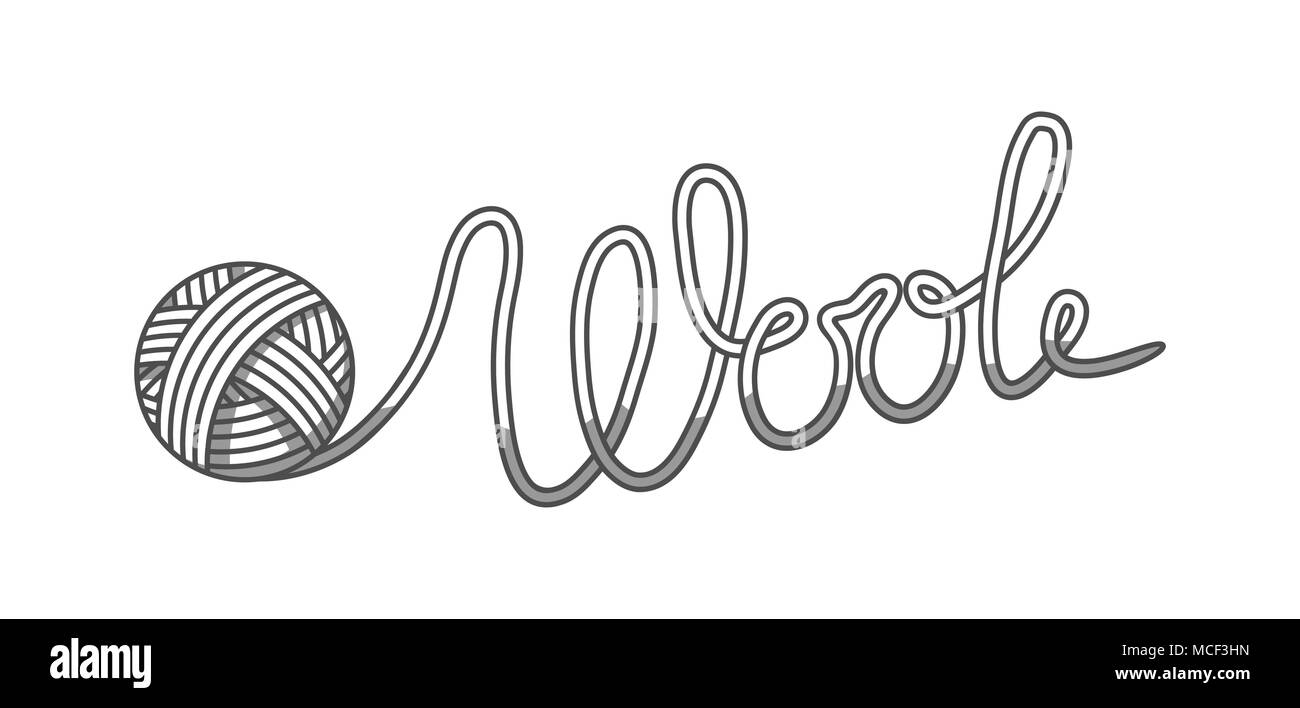 Wool emblem with with ball of yarn. Label for hand made, knitting or tailor shop - Stock Vector