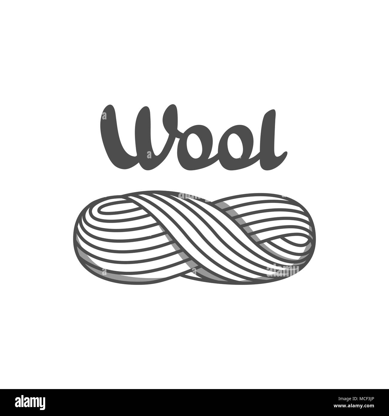 Wool emblem with with skein of yarn. Label for hand made, knitting or tailor shop - Stock Vector