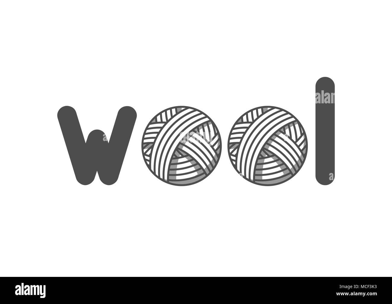 Wool emblem with with balls of yarn. Label for hand made, knitting or tailor shop - Stock Vector
