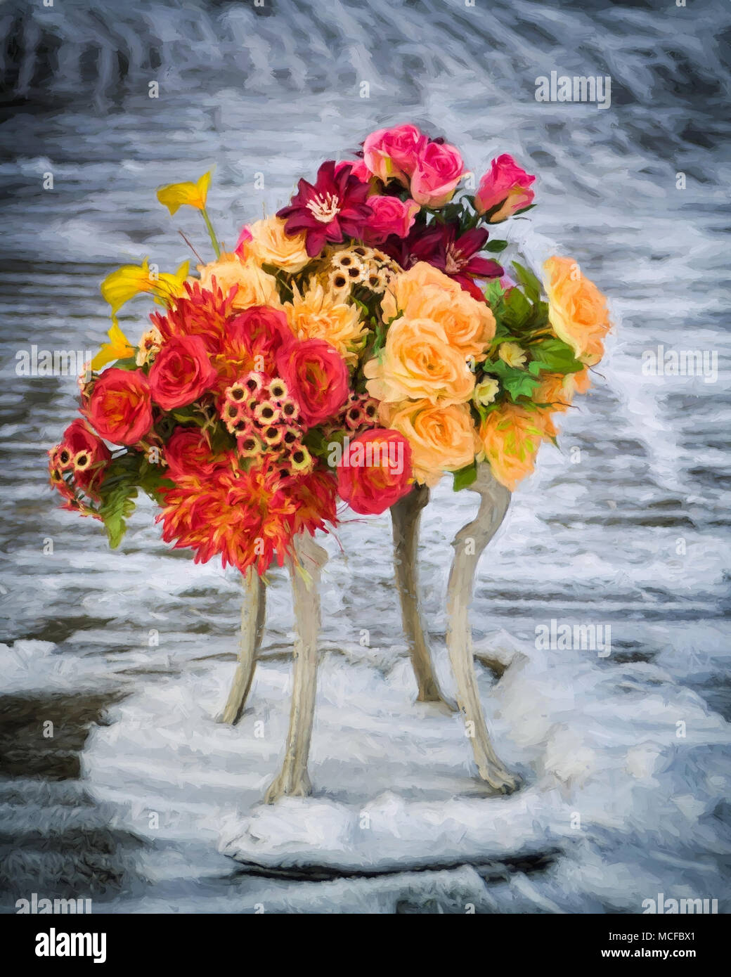 Painterly impressionistic digital art image of bright floral arrangement sat on small table on sidewalk cleared of snow, Krakow, Poland - Stock Image