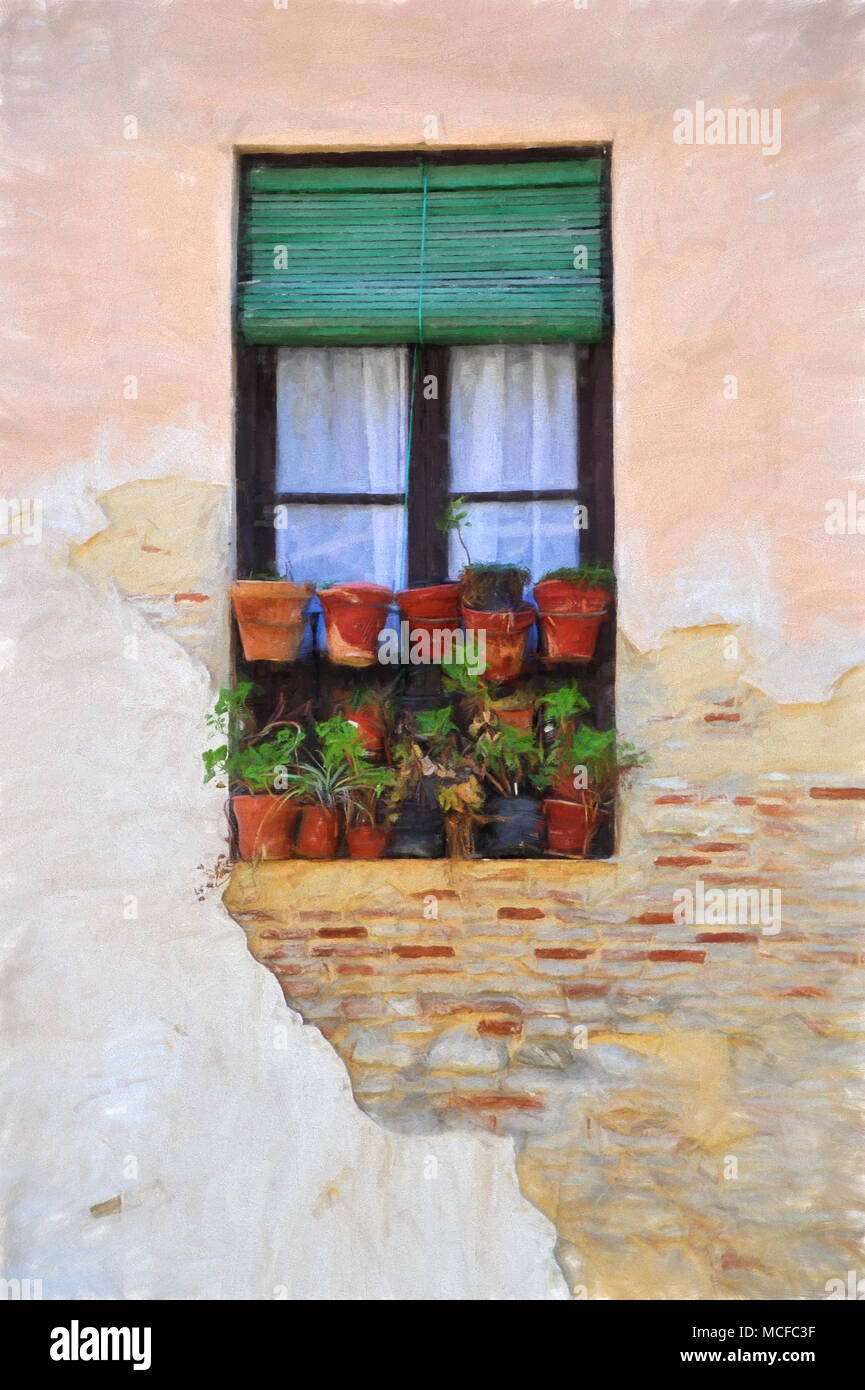 Painterly impressionistic digital art image of a window with plant pots. Granada, Andalusia, Spain - Stock Image