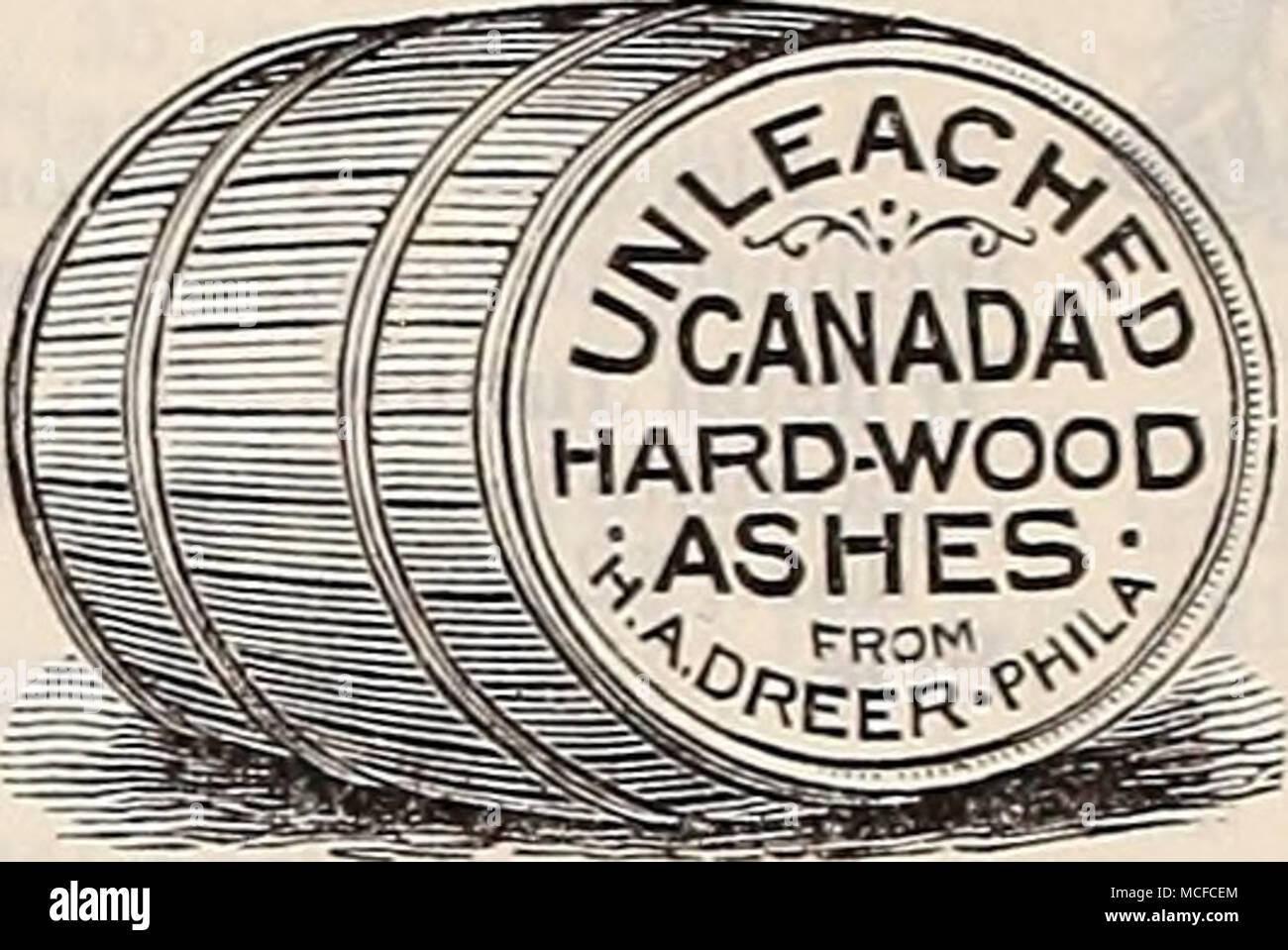 . Canada Hard-Wood Ashes. Indispensable as a lawn dressing, or to apply to orchards. They should be applied late in fall,or early in spring, so that the rains and snows may leach the ashes and cany the elements down to the roots of grass or trees. Our ashes are screened and are in proper condition for immediate use. Apply at the rate of 1000 to 1500 lbs. per acre. 50 lbs., §1.00; per bbl. (about 250 lbs.), §3.00; ton, §20.00. Clay's Fertilizer. This valuable imported manure is especially recommended to all who grow either fruit, flowers or vegetables, and wish to bring them to the highest per- - Stock Image