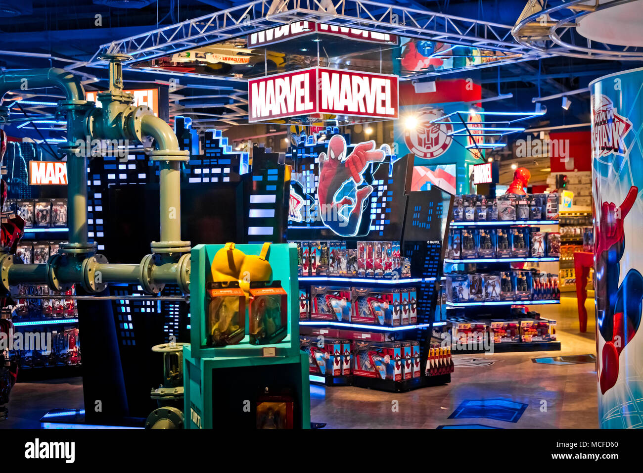 Interior Of Marvel Toys Department In Hamleys Store Marvel Comics