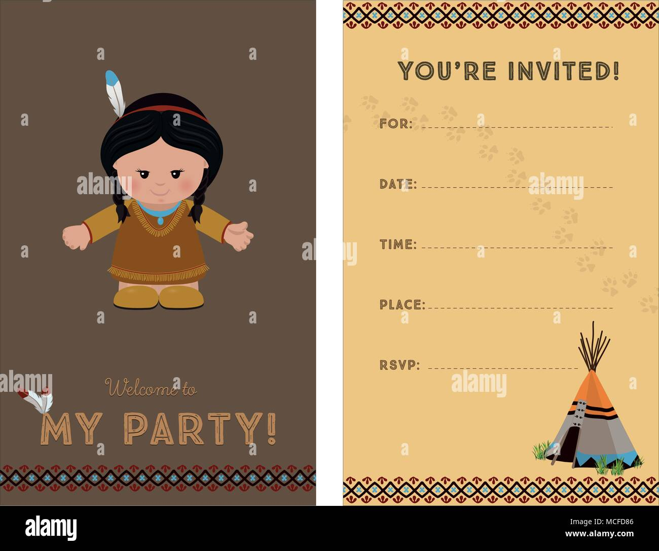 invitation to party card invitation with american indian girl for