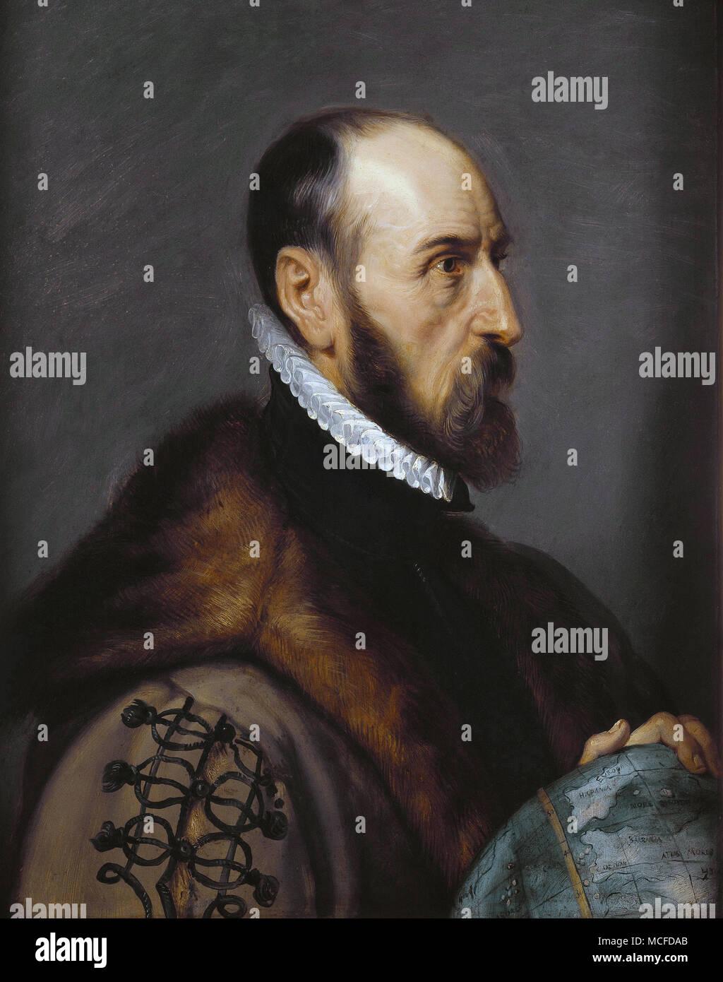 ABRAHAM ORTELIUS (1527-1598) Flemish cartographer. Painting by Peter Paul Rubens. - Stock Image