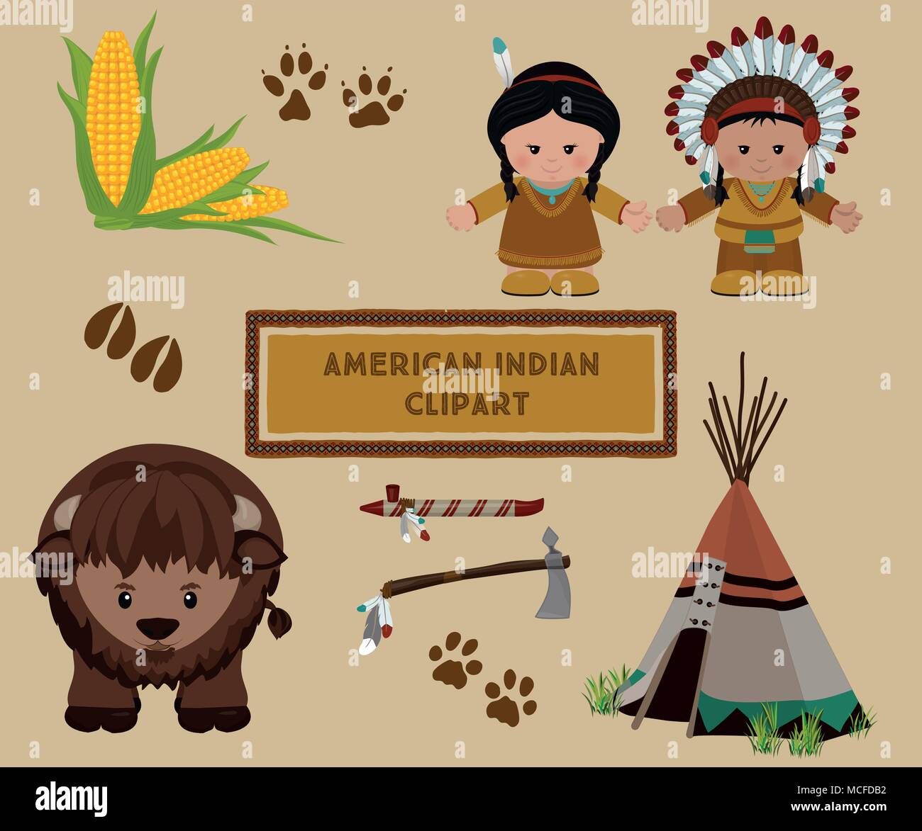 Traditional Indian Symbols Set Cartoon Characters Of American