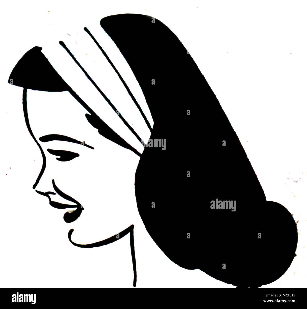 Art Deco style comic art of a female head Stock Photo