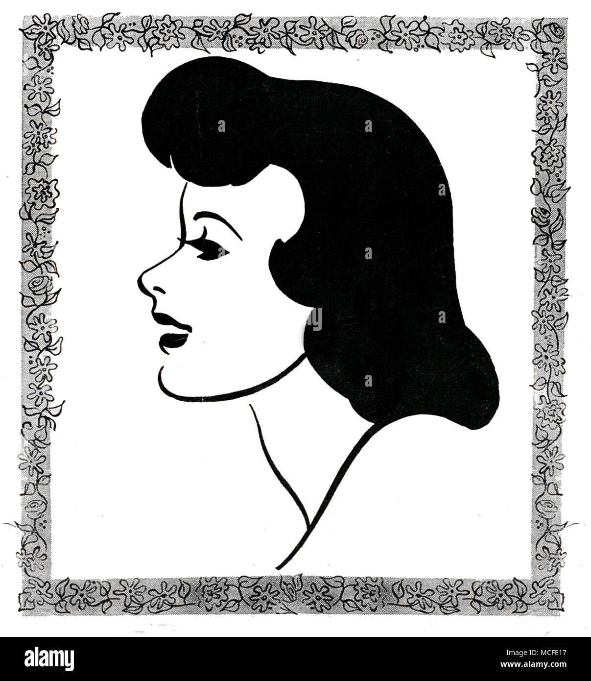 Art Deco style comic art of a female head Stock Photo