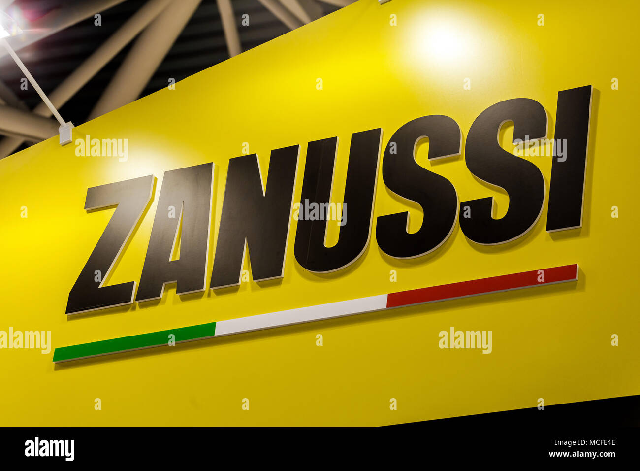 Zanussi logo company sign on the wall. Zanussi is an Italian producer of home appliances - Stock Image