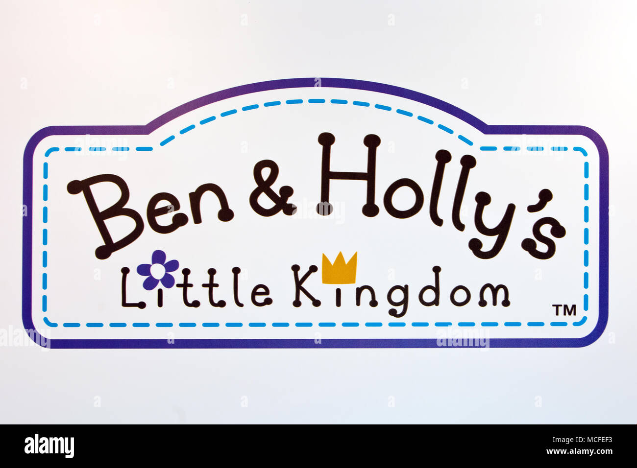 Ben & Holly's logo sign printed on banner. Ben & Holly's Little Kingdom is a British animated preschool television series - Stock Image
