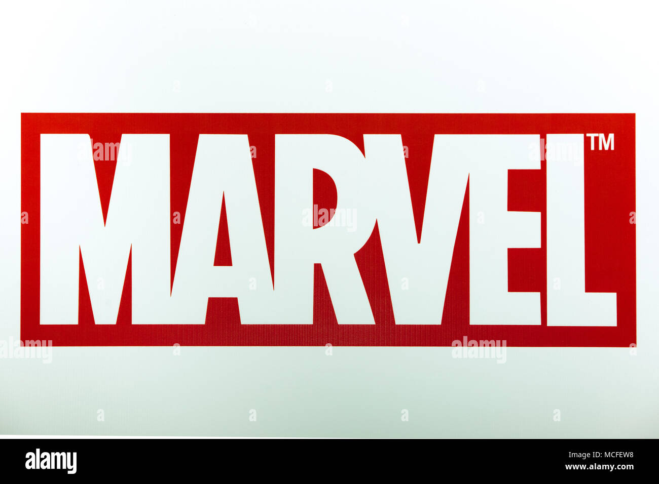 Marvel Logo Sign Printed On Banner Marvel Comics Group Is A