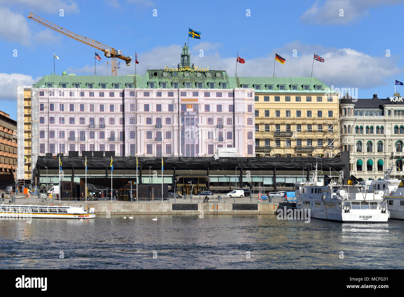 Grand hotel. Reconstruction of building - Stock Image