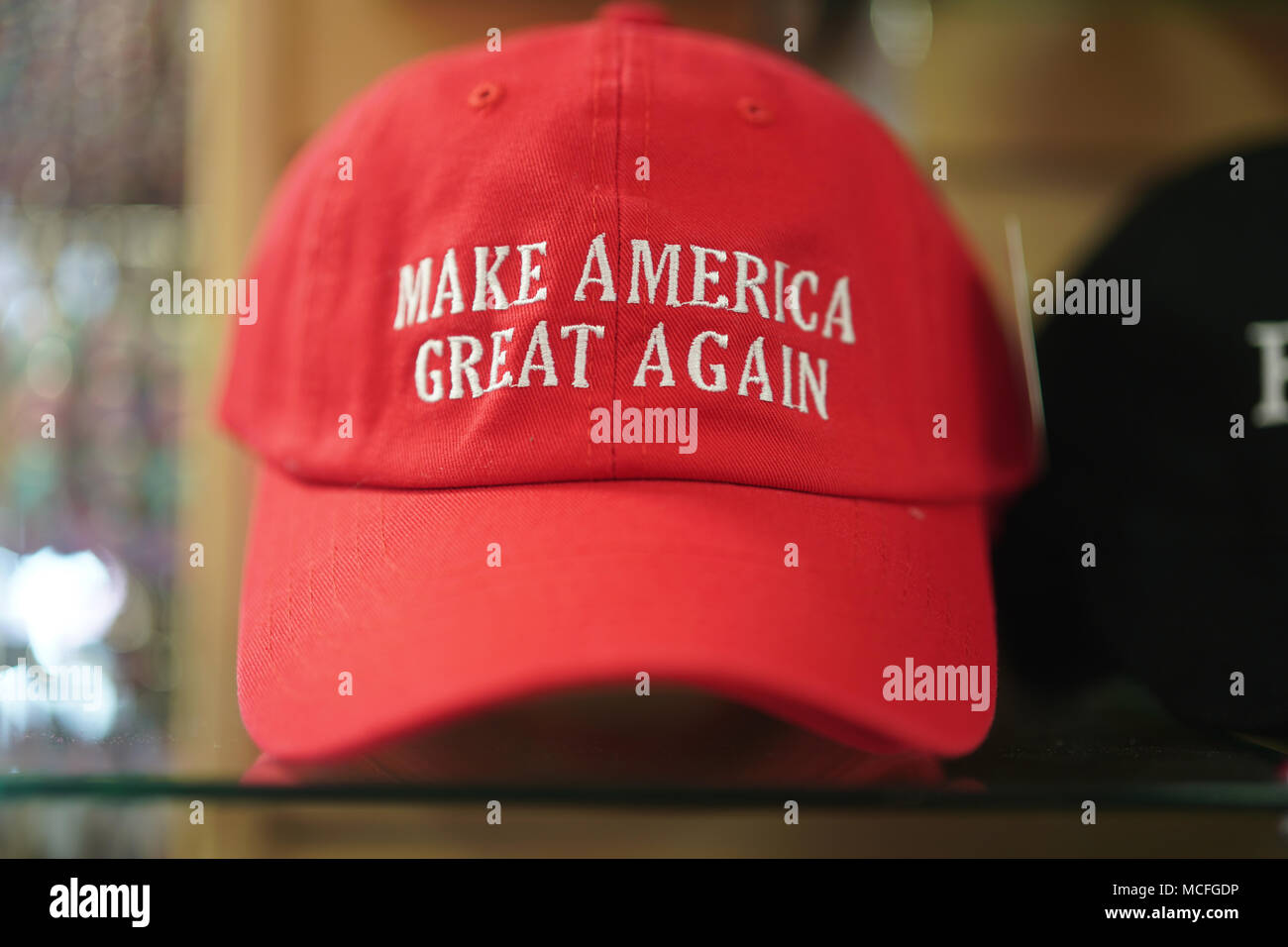 97a3cb0b66e A Make America Great Again hat on sale in the White House gift shop in  Washington