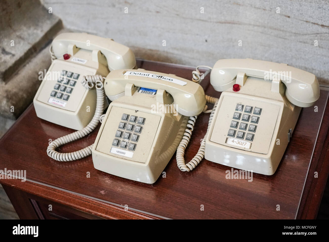 Three old-fashioned telephones in the Capitol building in Washington DC in the United States. From a series of travel photos in the United States. Pho - Stock Image
