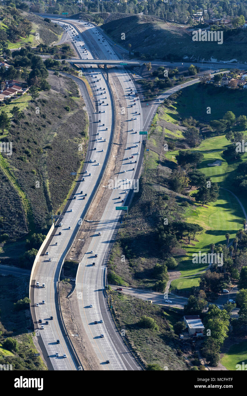 Vertical aerial view of suburban route 23 freeway in Thousand Oaks near Los Angeles, California. - Stock Image