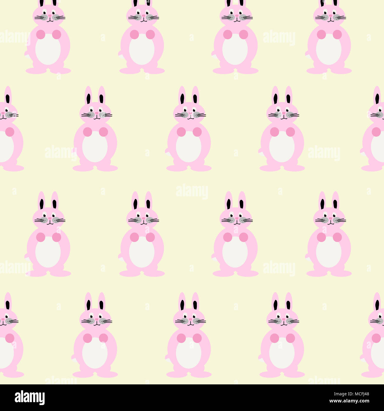 Cute and colorful bunny illustration including multiple baby pink rabbits. Lovely childlike drawing! - Stock Image