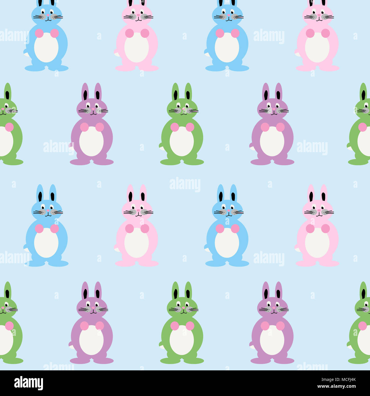 Cute and colorful bunny illustration including multiple pink, blue, lila and green baby rabbits. Lovely childlike drawing! - Stock Image