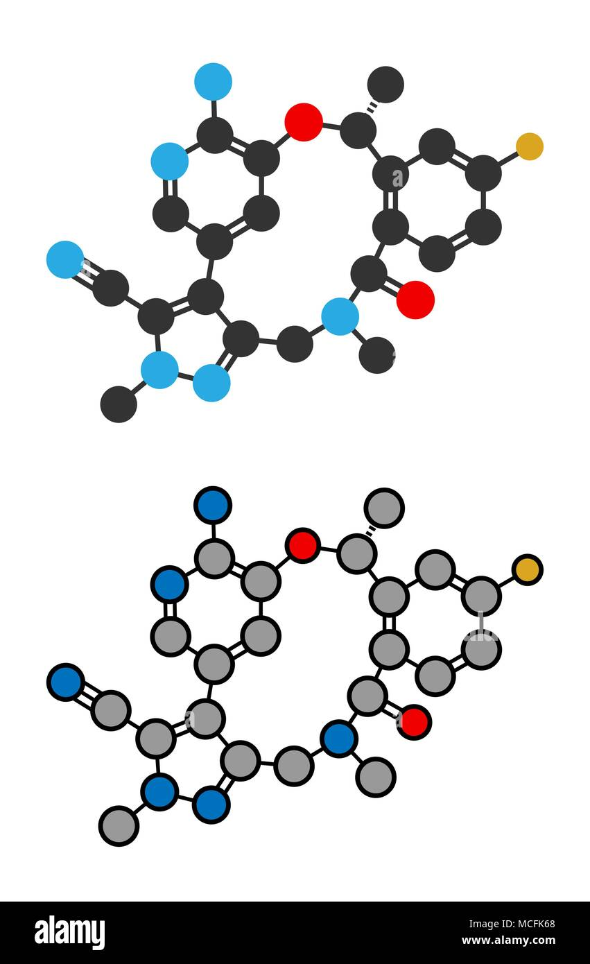 Lorlatinib cancer drug molecule. Stylized 2D renderings. - Stock Image