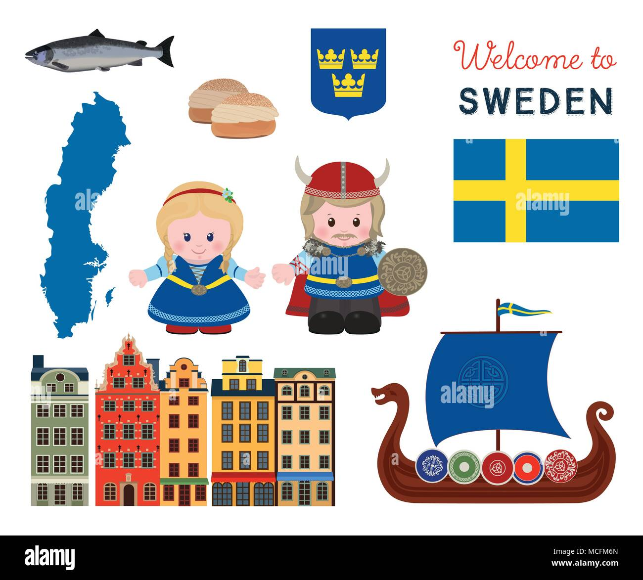 Welcome To Sweden Traditional Scandinavian Symbols Set With Cartoon